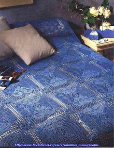 Uncinetto doro: Bellissimo copriletto blu!!!