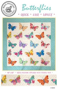 Butterflies quilt pattern by Black Mountain Needleworks. Butterfly Quilt Pattern, Pattern Paper, Baby Girl Quilts, Girls Quilts, Quilt Modernen, Animal Quilts, Machine Applique, Mini Quilts, Small Quilts