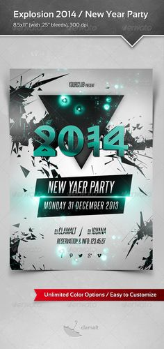 Explosion 2014 New Year Party / Poster — Photoshop PSD #poster template #party • Available here → https://graphicriver.net/item/explosion-2014-new-year-party-poster/6058509?ref=pxcr