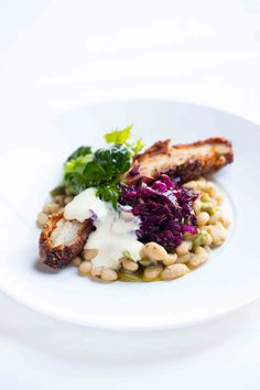 Lemon + Fennel Pork Belly with Braised White Beans, Red Cabbage Slaw + Roasted Garlic Aioli
