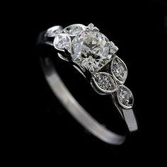 Platin Diamant ebnen Edwardian Stil inspiriert von OroSpot auf Etsy