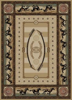 Delectably Yours Western Horse Stampede Border Rug 5x8 or 8x10