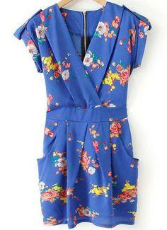 Blue V Neck Short Sleeve Floral Slim Dress pictures