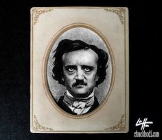 This is an original ink and graphite drawing on canson paper placed inside a cabinet card of Edgar Allan Poe. by Chuck Hodi