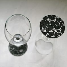 Lace on stemware!  Love it! I want to do this!