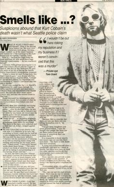 Halifax Daily News, June 1996 by Andy Pedersen Newspaper article that goes over some of the key points, and interviews Tom Grant. Kurt Cobain Photos, Nirvana Kurt Cobain, Dave Grohl, Rock N Roll, Kurt Cobain's Death, Kurt Corbain, Donald Cobain, Trap, Aesthetic Grunge
