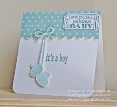 Using Something for Baby by Stampin Up - for a little boy - Stampin Up ideas and supplies from Vicky at Crafting Clares Paper Moments