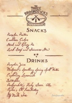 Three Broomsticks Menu Inspired By The Books And Films Of Harry Potter