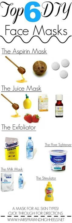 DIY Face Masks: All Skin Types The top 6 DIY Face Masks and exactly how to make them. Perfect for all skin types.The top 6 DIY Face Masks and exactly how to make them. Perfect for all skin types. Beauty Care, Diy Beauty, Beauty Skin, Beauty Hacks, Beauty Advice, Beauty Makeup, Beauty Ideas, Diy Face Mask, Face Masks
