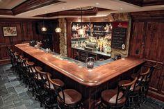 Finished Bar Photo Gallery - Bar Rails & Parts - Hardwoods Incorporated Wet Bar Basement, Basement Bar Plans, Basement Bar Designs, Home Bar Designs, Basement Remodeling, Basement Finishing, Basement Ideas, Basement House, Home Theater Room Design