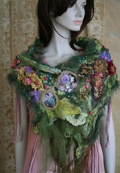 English Garden - extravagant shabby chic shawl, textile art collage, hand embroidery+beading by FleurBonheur