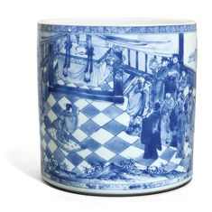 A blue and white brushpot, qing dynasty, kangxi period Fine Porcelain, Porcelain Ceramics, Ceramic Art, White Ceramics, Blue And White China, Blue China, Chinese Painting, Chinese Art, Chinese China