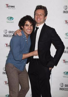 Darren Criss and Jonathan Groff at the #GrossIndecency after party 10/5/15