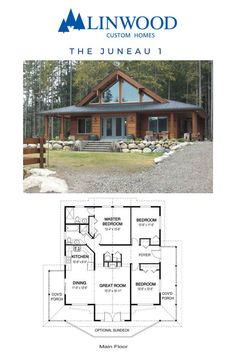 Juneau 1 home package from Linwood Homes. The cedar home design is built in classic post and beam style, with open living spaces, covered porches and an optional sundeck. It would make a perfect cottage retreat, ski chalet or family home. by socorro Cabin House Plans, Cabin Floor Plans, New House Plans, Dream House Plans, Small House Plans, Cottage Floor Plans, Family Home Plans, Rustic House Plans, Cabin Kits