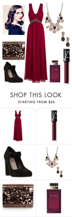 """""""Scarlet Formal"""" by songbird1413 on Polyvore featuring Little Mistress, NARS Cosmetics, Dune, Sorrelli, Jimmy Choo and Dolce&Gabbana"""