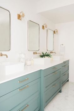 13 Envy-Inducing Green Cabinets That Will Make Your Houseguests Jealous - mint green bathroom cabinets - Bad Inspiration, Bathroom Inspiration, Bathroom Ideas, Gold Bathroom, Bathroom Vanities, Painted Bathroom Cabinets, Bathroom Wall, Bathroom Green, Bath Cabinets