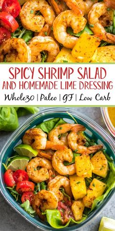 This spicy shrimp salad with homemade lime dressing is great for a healthy lunch meal prep or simple dinner. The shrimp cooks quickly and the dressing only takes a few minutes to prepare, so it all comes together in under 30 minutes. It's also all Whole30, paleo, low carb and paleo, while being full of flavor and super easy! #whole30shrimp #whole30salad #shrimpsalad #paleoshrimp #shrimprecipes Paleo Salad Recipes, Salmon Recipes, Lunch Recipes, Healthy Dinner Recipes, Healthy Salads, Keto Recipes, Healthy Food, Shellfish Recipes, Seafood Recipes