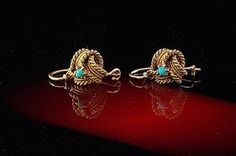 ANTIQUE EARLY VICTORIAN 14K GOLD TURQUOISE LOVE KNOT EARRINGS (08311425)