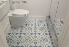 """Our exclusive """"Savona"""" is a cement tile pattern designed for our Coastal Series. Shown here in our coastal """"Palm Beach"""" colorway, this pattern features a barbed quatrefoil full of coastal accents, such as seashells. Bathroom Tub Shower, Bathroom Renos, Bathrooms, Tuile, Best Bath, Style Tile, Bath Remodel, Tile Patterns, Wall Wallpaper"""