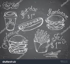 Vector hand drawn set of Retro Fast Food Menu with price on chalkboard in vintage style , Drawing Cup, Chalkboard Restaurant, Menu Board Design, Retro, Deco Restaurant, Fast Food Menu, Oktoberfest Food, Chalk Drawings, Vector Hand