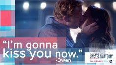 """""""I'm gonna kiss you now."""" Owen Hunt to Amelia Shepherd, Grey's Anatomy quotes"""