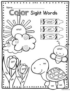 "Sight words worksheets for preschool and kindergarten. These worksheets help your kids learn to recognize common words or ""sight words"" Part of a preschool. Teaching Sight Words, Sight Word Activities, Color Activities, Free Activities, Sight Word Centers, Educational Activities, Kindergarten Colors, Kindergarten Math Worksheets, Early Childhood Education"