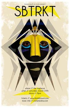 - SBTRKT Concert Poster Artwork - #music #posterart #gigposters #artwork #SBTRKT #musicart #edm http://www.pinterest.com/TheHitman14/music-poster-art-%2B/