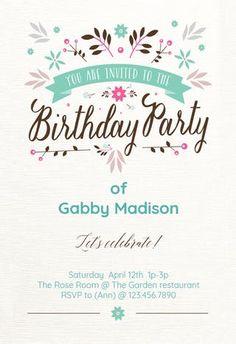Flat Floral - Birthday Invitation