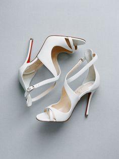 Christian Louboutin, bridal shoes, high heels, heeled sandals, open toe, wedding shoes   Photography: Ashley Sawtelle Photography