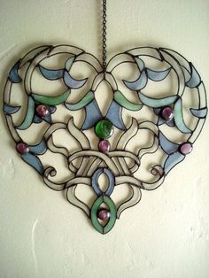 Glass Lace Heart Stained Glass Suncatcher by hollyannkelly, $75.00