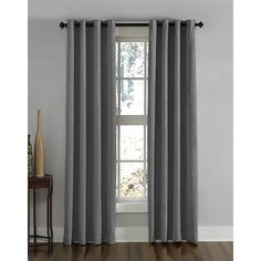 CHF Lenox Grey Polyester Room Darkening Single Curtain Panel at Lowe's. Grommet top tailored window panel features a solid, subtle crushed textured room-darkening polyester fabric. Panel is accented with In. Drapery Panels, Grommet Curtains, Window Panels, Blackout Curtains, Drapes Curtains, Elegant Curtains, Decorative Curtain Rods, Rod Pocket Curtains, Room Darkening Curtains