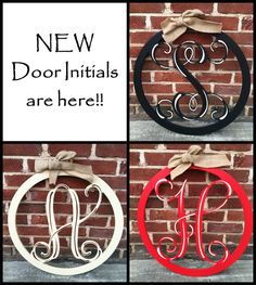 Metal Monogram Door Hanger- 22  Door WreathWreaths Front door initial door wreath monogrammed metal wreath personalized GIFT | Metal Art | Pinterest ...  sc 1 st  Pinterest & Metal Monogram Door Hanger- 22
