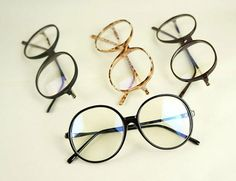 Round Black Leopard Print Spectacles Frame Retro Plain Glass (FREE SHIPPING WORLDWIDE) on Etsy, £5.99