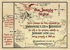 Printable Birthday Invitation Hobbit Map, Smaug, Tolkien Inspired Invitation on Etsy, £3.63