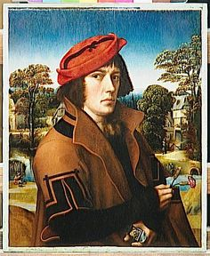 Anonyme Flandres ou Hollande, Portrait d'homme tenant deux œillets, premier quart XVIe s., Paris, Louvre