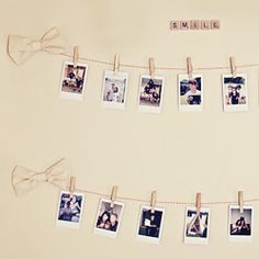 Make a sweet photo display on your wall in under 10 minutes.- this would be cute with instagram pics