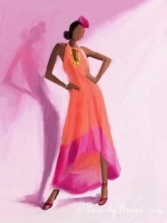 Digital Fashion Illustration - Woman with Long Orange and Pink Dress