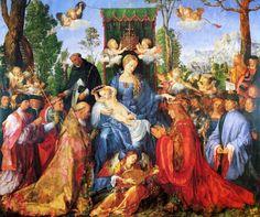 """""""Das Rosenkranzfest"""" (1506) von Albrecht Dürer (geboren am 21. Mai 1471 in Nürnberg, gestorben am 6. April 1528 ebenda), deutscher Maler, Grafiker, Mathematiker und Kunsttheoretiker."""