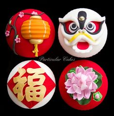 Chinese New Year Cupcakes: Gorgeous and flawless cupcakes depicting recognizable Chinese elements, including a Chinese lantern, dragon and a water lily.