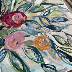 Mixed media art Abstract flowers Original painting 18x24 inches