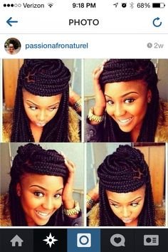 Natural hairstyles I like.  Natural hair. Love this braid style.