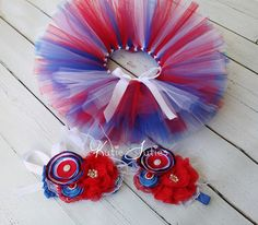 The Patriotic Tutu Top & Headband Red White and by KutieTuties 4th July, Pageant, Girl, Toddler, Newborn, Infant, photo prop