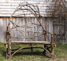 Garden Settee Cedar Wood Rustic Outdoor Bench. $395.00, via Etsy.