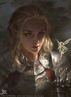 f High Elf Paladin Plate Armor pixie fairie portrait fantasy character by Qichao Wang lg (saved) Fantasy Artwork, Fantasy Portraits, Character Portraits, Character Art, Character Concept, Fantasy Magic, Fantasy Rpg, Medieval Fantasy, Fantasy Women