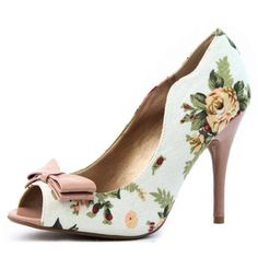 Women's Qupid Multi-Color Fabric Peep Toe Floral Stilettos High Heel Pump Fashion Shoes -  	     	              	Price:              	View Available Sizes & Colors (Prices May Vary)        	Buy It Now      Material: Man Made Fabric MaterialProduct Code: Policy-03 White Multi ColorPeep round toe causal pumps. Featuring walkable heel height of approximate 4 inches tall. Bow Decor...