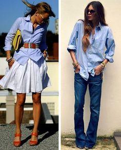 голубая рубашка женская с чем носить - Поиск в Google