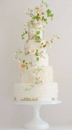 this five tiered wedding cake is all in white but wih a lot of texture and small details like some light golden elements and delicate green limbs with roses Black Wedding Cakes, Fall Wedding Cakes, Elegant Wedding Cakes, Elegant Cakes, Beautiful Wedding Cakes, Wedding Cake Designs, Beautiful Cakes, Purple Wedding, Gold Wedding