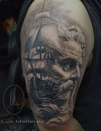 What does poseidon tattoo mean? We have poseidon tattoo ideas, designs, symbolism and we explain the meaning behind the tattoo. Half Sleeve Tattoos For Guys, Full Back Tattoos, Great Tattoos, Elbow Tattoos, Full Sleeve Tattoos, Arm Tattoo, Tattoo Ship, Poseidon Tattoo, Religious Tattoo Sleeves