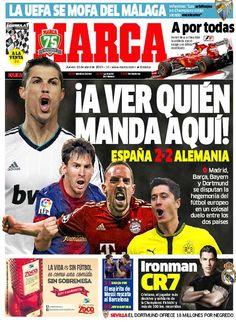 '¡A ver quién manda aquí!' | La portada de Marca del 11 de abril de 2013, #futbol #deporte