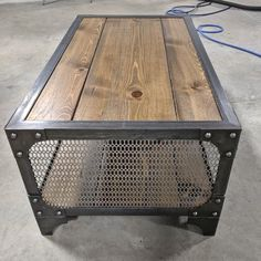 This is a handmade, industrial style coffee table with a solid wood planks and stylish decorative mesh on the sides. Features Heavy steel construction Handscraped solid wood planks (W) x 24 (D) x (H) Made in the USA© Copyright Modern Industrial Furniture Diy Furniture Cheap, Diy Furniture Renovation, Diy Furniture Hacks, Furniture Design, Furniture Websites, Furniture Makeover, Industrial Style Coffee Table, Modern Industrial Furniture, Industrial Lamps